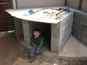 Top formwork under construction (with helper)